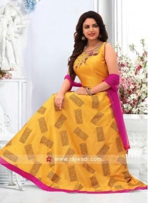 Yellow Wedding Anarkali with Rani Dupatta