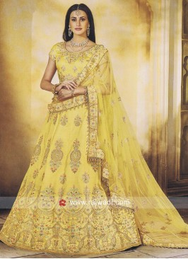 Yellow Wedding Lehenga in Silk