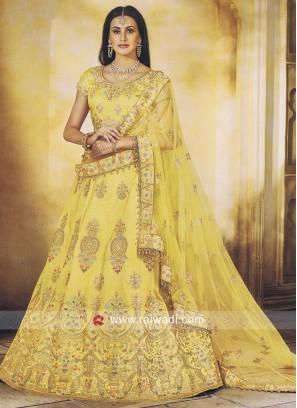 Yellow Wedding Lehenga in Silk