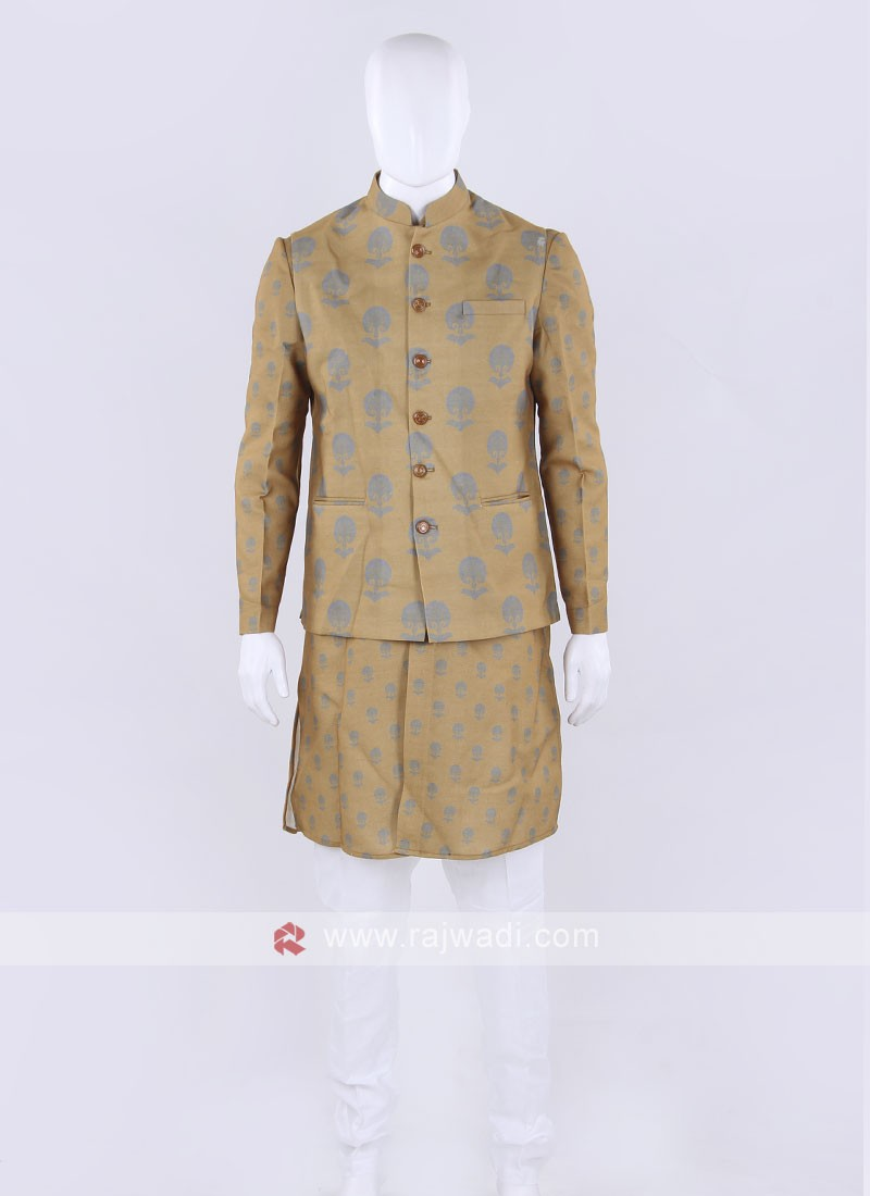 Yellow & white color Nehru jacket
