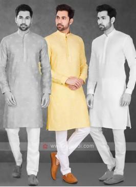 Yellow & White Kurta Pajama