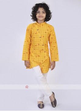 Yellow & White Kurta Pajama For Boys