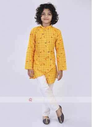 Yellow & White Kurta Pajama For Boys