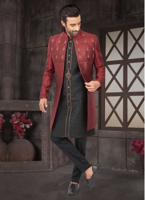 Koti Style Black And Maroon Indo-Western