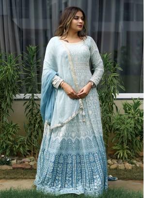 Zardosi Work Sky Blue And Dark Blue Anarkali Suit