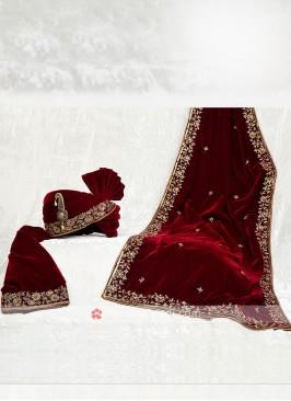 Zardosi Work Velvet Turban With Matching Dupatta