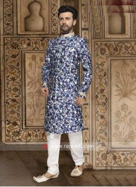 Stylish Printed Indo Western in Blue