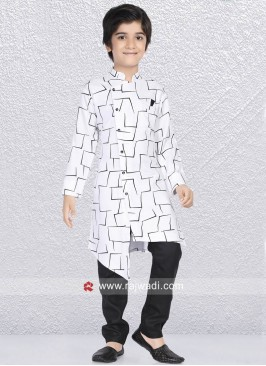 White Printed Kurta Set