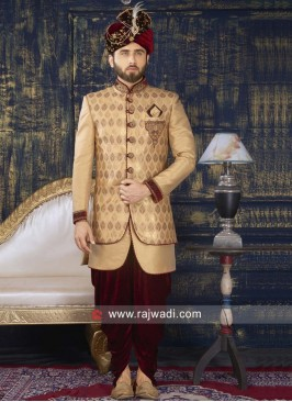 Zardozi Work Brocade Silk Indo Western