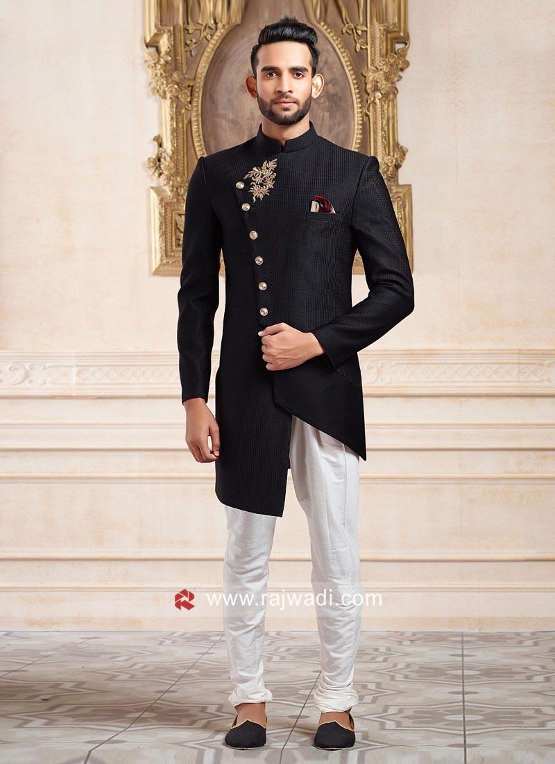 Emboss Fabric Black Indo Western