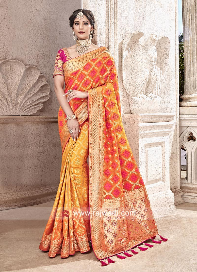 Zari and Pearl Work Wedding Saree