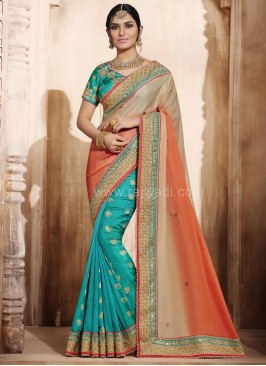 Zari and Pita Work Wedding Two Tone Saree
