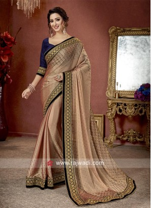 Zari and Stone Work Saree with Blouse