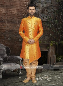Golden Yellow Art Silk Indo Western