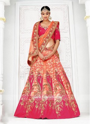 Zari and Stone Work Two Tone Bridal Lehenga Choli