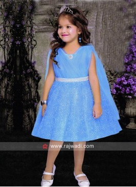 Zari and Tikki Work Fancy Frock for Girls