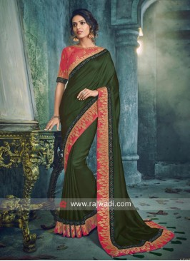 Zari Border Saree in Dark Green