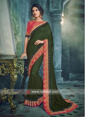 Zari Border Saree in Dark Green