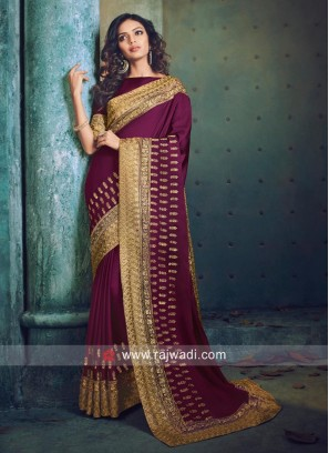 Zari Border Saree with Raw Silk Blouse