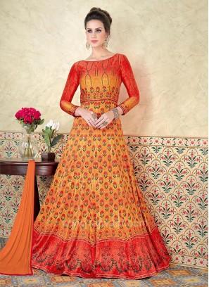 Zari Embellished Anarkali Salwar Suit with Shaded Tone