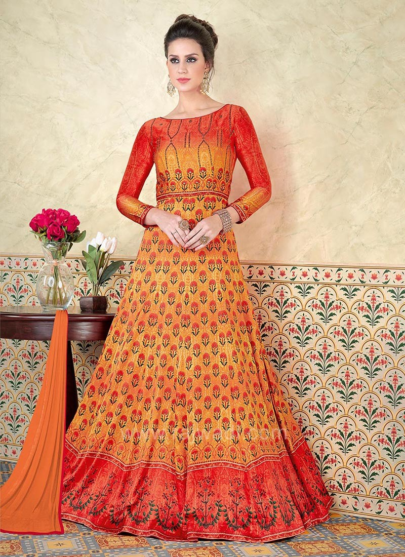 Zari Embellished Anarkali Salwar Suit with Shaded Tone