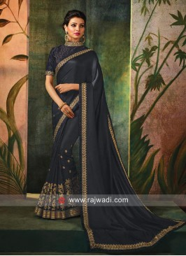 Zari Embroidered Saree in Grey