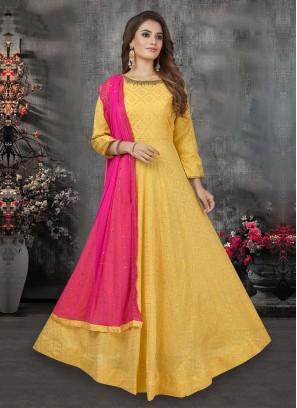 Zari Printed Anarkali Suit