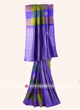 Zari Weaved Checks Saree