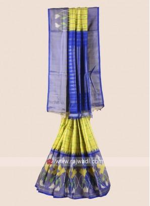 Zari Weaved Classic Pure Silk Checks Saree
