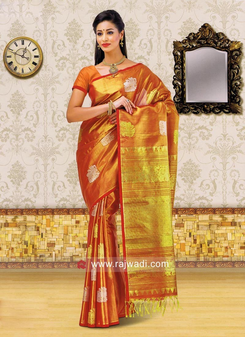 Zari Weaved Designer Saree with Blouse
