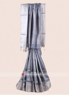 Zari Weaved Pure Silk Saree in Grey