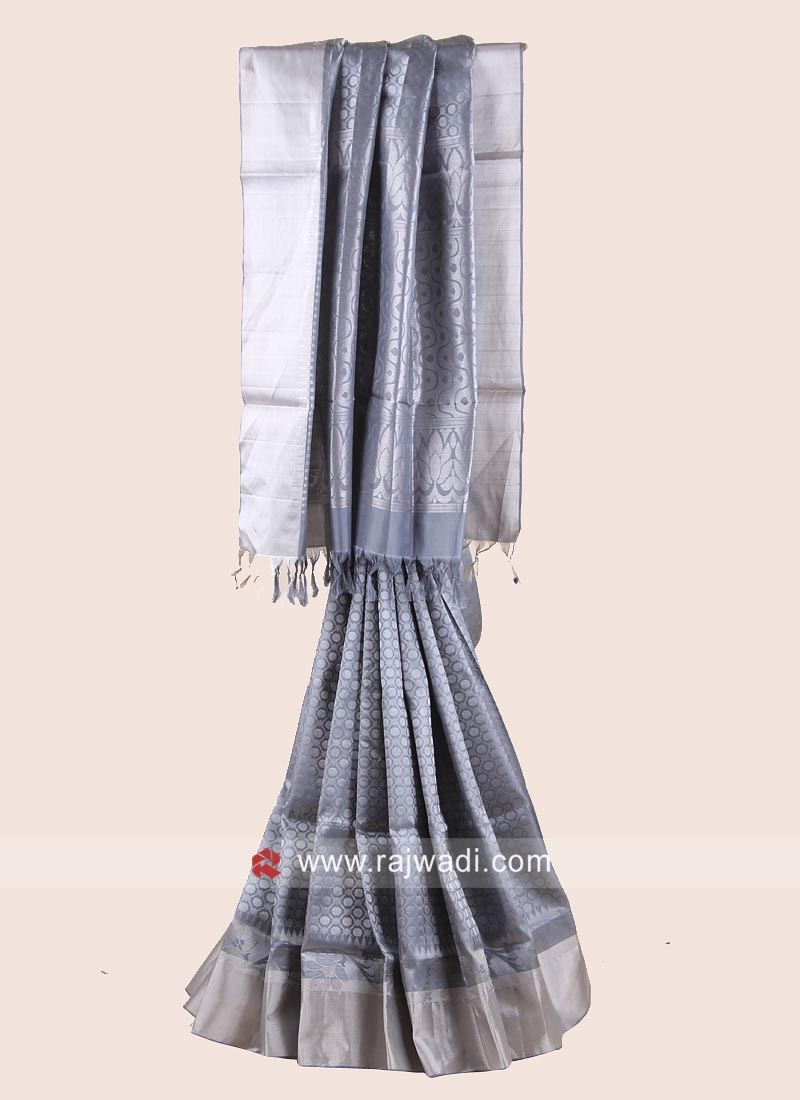 Zari Weaved Pure Silk Saree in Grey