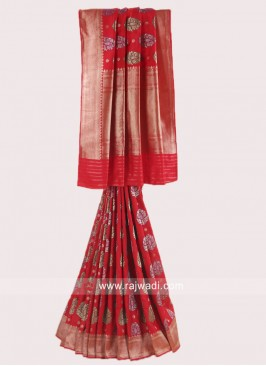 Zari Weaved Saree with blouse