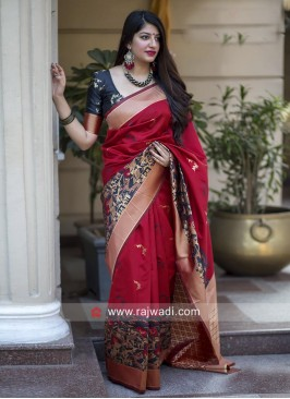 Zari Weaving Banarasi Silk Saree