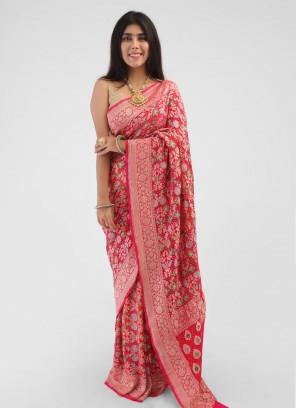 Zari Weaving Pink Chiffon Saree