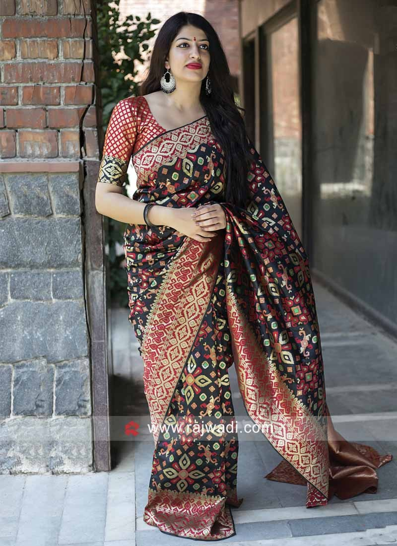 Zari Weaving Saree in Black