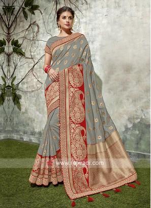 Zari Weaving Saree with Blouse