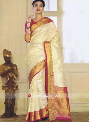 Zari Weaving Saree with Blouse