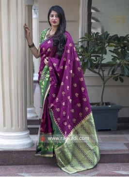 Zari Weaving Saree with Blouse Fabric