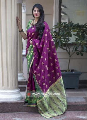Zari Weaving Saree with Blouse Fabric