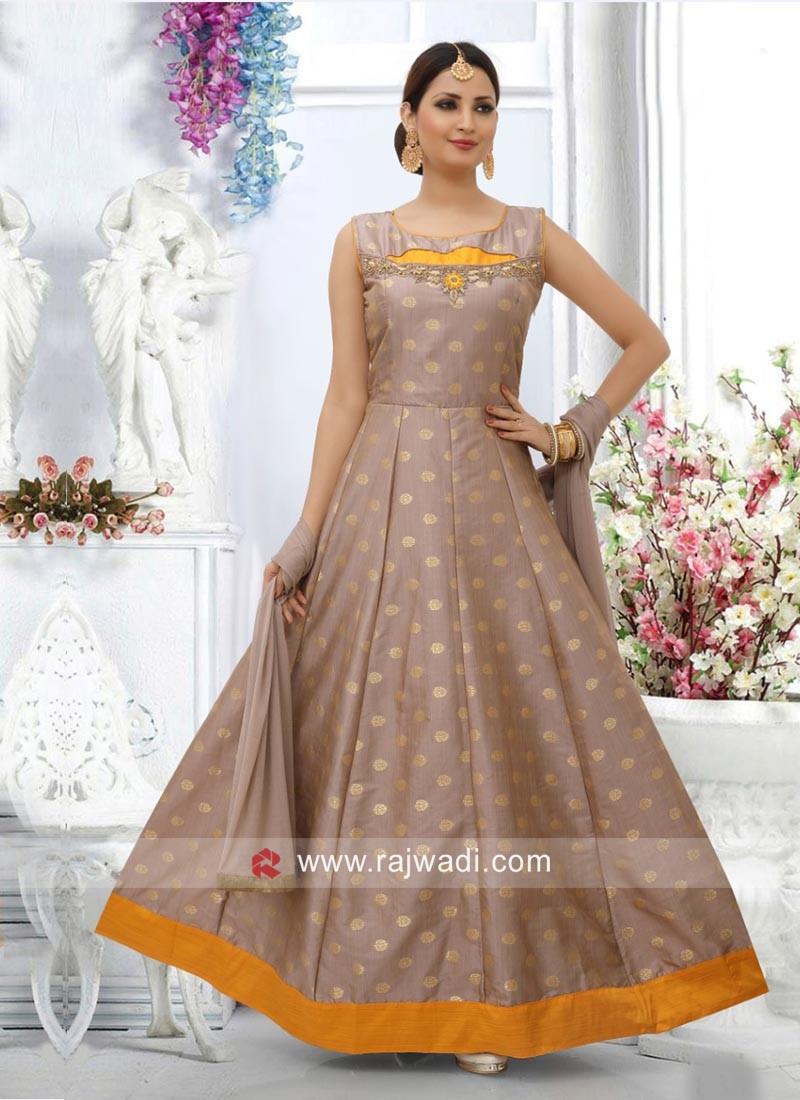 Zari Work Cotton Silk Anarkali Dress