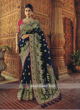 Zari Work Dark Blue Saree
