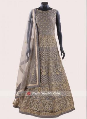 Zari Work Designer Stitched Anarkali Suit