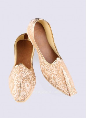Zari Work Golden Cream Mojari
