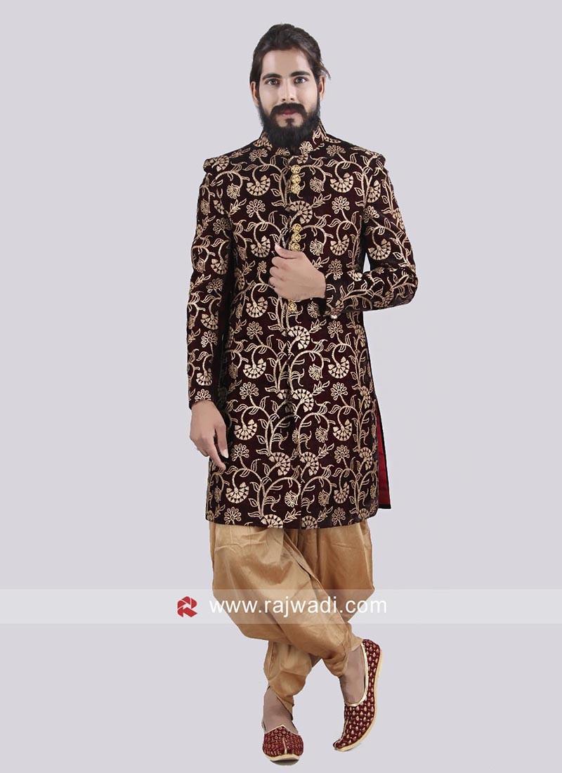 Zari Work Indo Western With Stylish Buttons
