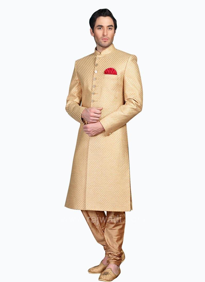 Zari Work Jute Silk Sherwani