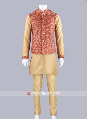 Zari Work Koti With Golden Kurta