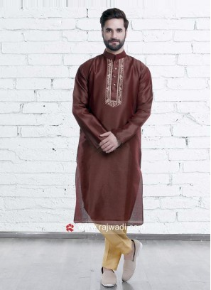 Dark Brown Color Kurta Set
