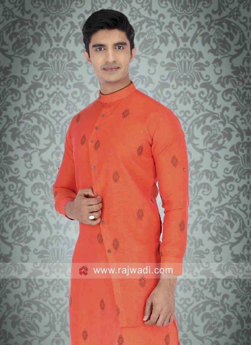 Orange Linen Fabric Kurta