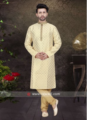Brocade Silk Kurta Pajama In Cream